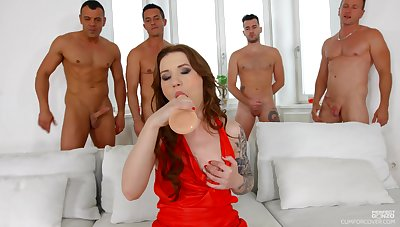 Several big dicks attack pussy and deep throat of nasty hooker Monika Wild