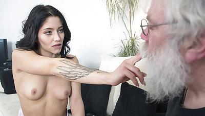 Grandpa sucks young girls tits intermittently gets a blowjob