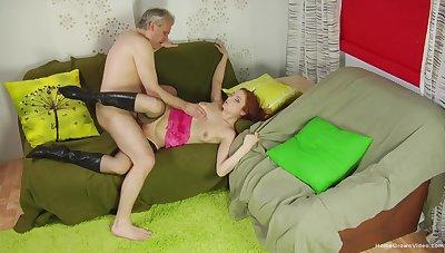 Old man shows this redhead proper orgasms