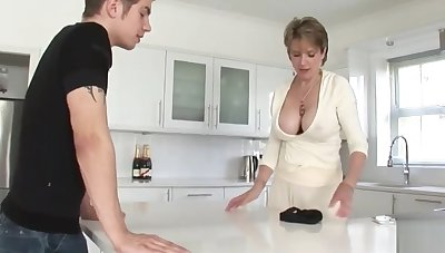 Shameless Mature Stepmom cant get suited of her Stepson