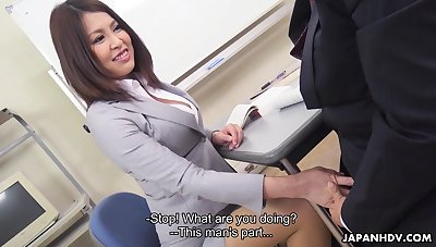 Sexy Japanese teacher allows student to touch the brush boobies added to lick anal hole