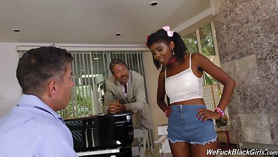 Son and dad bang pretty hot ebony teen Daizy Cooper and cum on her face