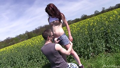 Nice outdoors fucking with gorgeous redhead girlfriend Sharlotte