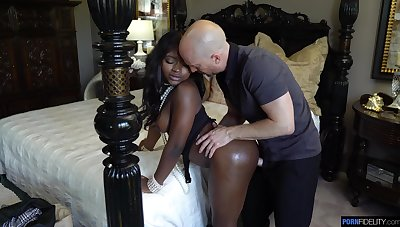 Married guy fucks bootyful black babe Noemie Bilas in mouth and pussy