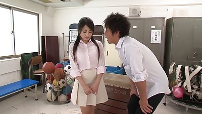 Dazzling MMF threesome in the class-room with sexy Arisa Misato