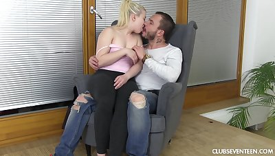 Petite chick ends up riding her man's big dick have a fondness a proper bitch